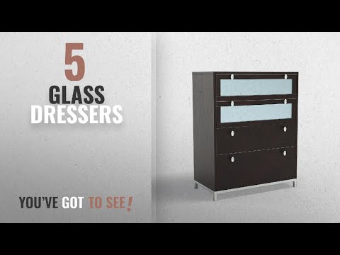 Top 10 Glass Dressers [2018]: ioHOMES Nobu 4-Drawer Dresser with Tempered Glass, Cappuccino