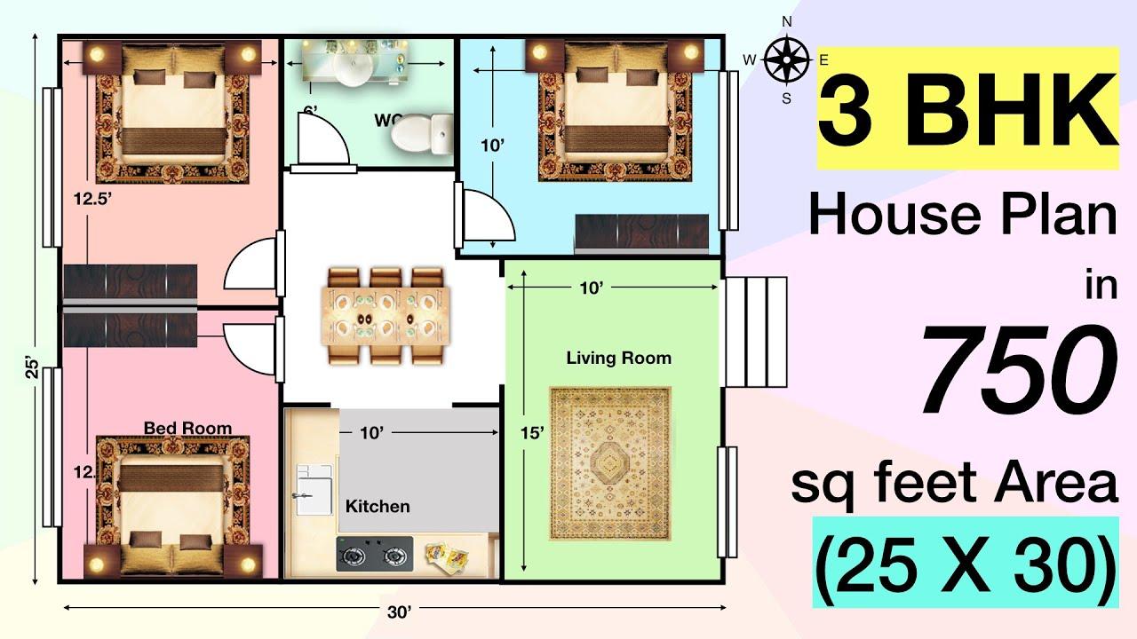 3 BHK House Plan in 750 sq feet (25 x 30)