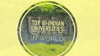 Top 10 indian universities and their rank in world 2020