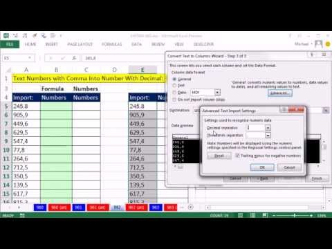 Excel Magic Trick 962: Convert Numbers w Comma to Number w Decimal: Formula  or Text To Columns