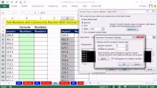 Repeat youtube video Excel Magic Trick 962: Convert Numbers w Comma to Number w Decimal: Formula or Text To Columns