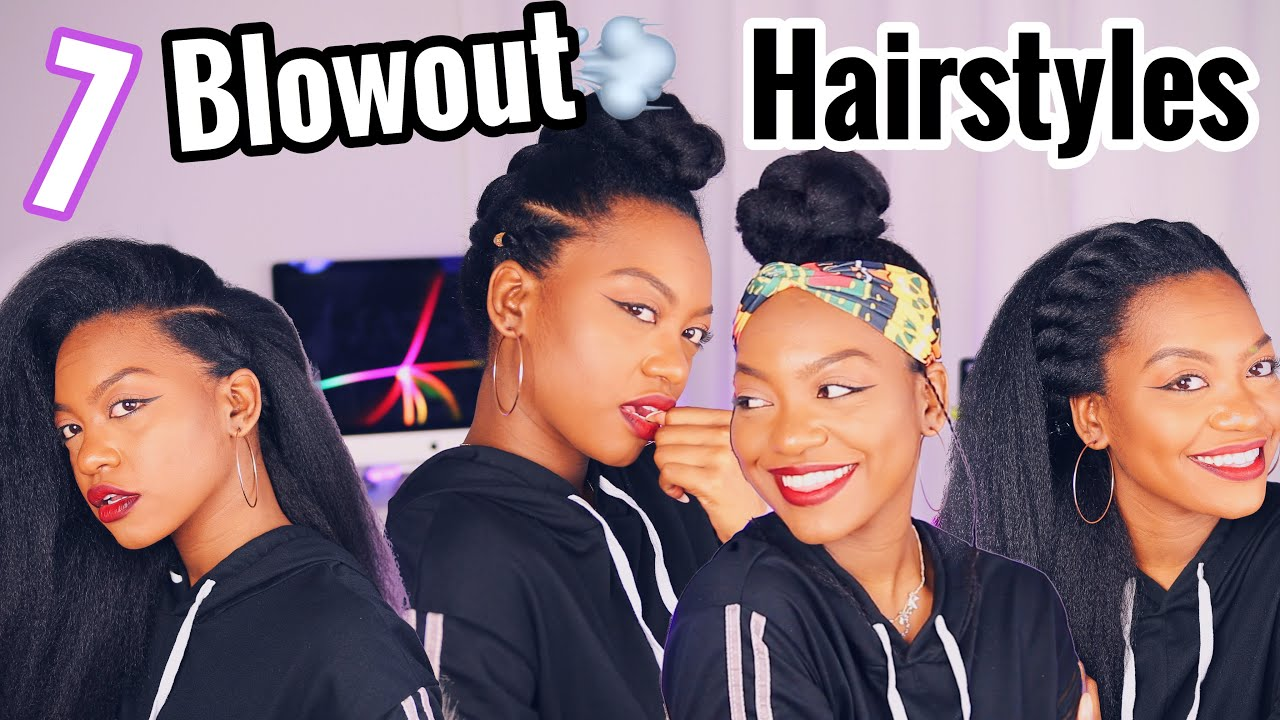 7 Adult Hairstyles On A Natural Blowout Youtube