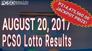 PCSO Lotto Results Today August 20, 2017 (6/58, 6/49, Swertres & EZ2)