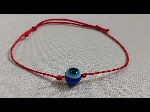 b229c479beeee7 How to make a Lucky Red String Kabbalah Bracelet with blue evil eye charm (  Quick & Easy )