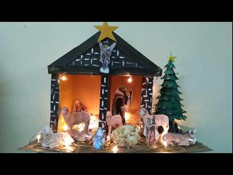 Christmas Crib Making And Decorations   How To Make Christmas Crib   Nativity Scene Set Up