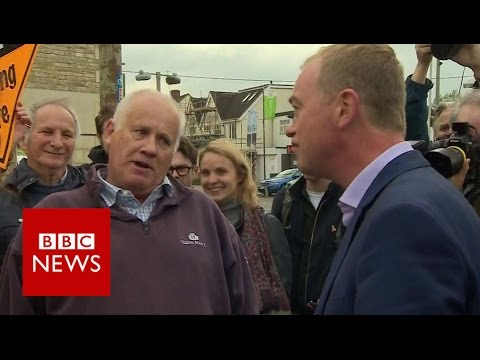 Tim Farron tackled by Leave voter - BBC News