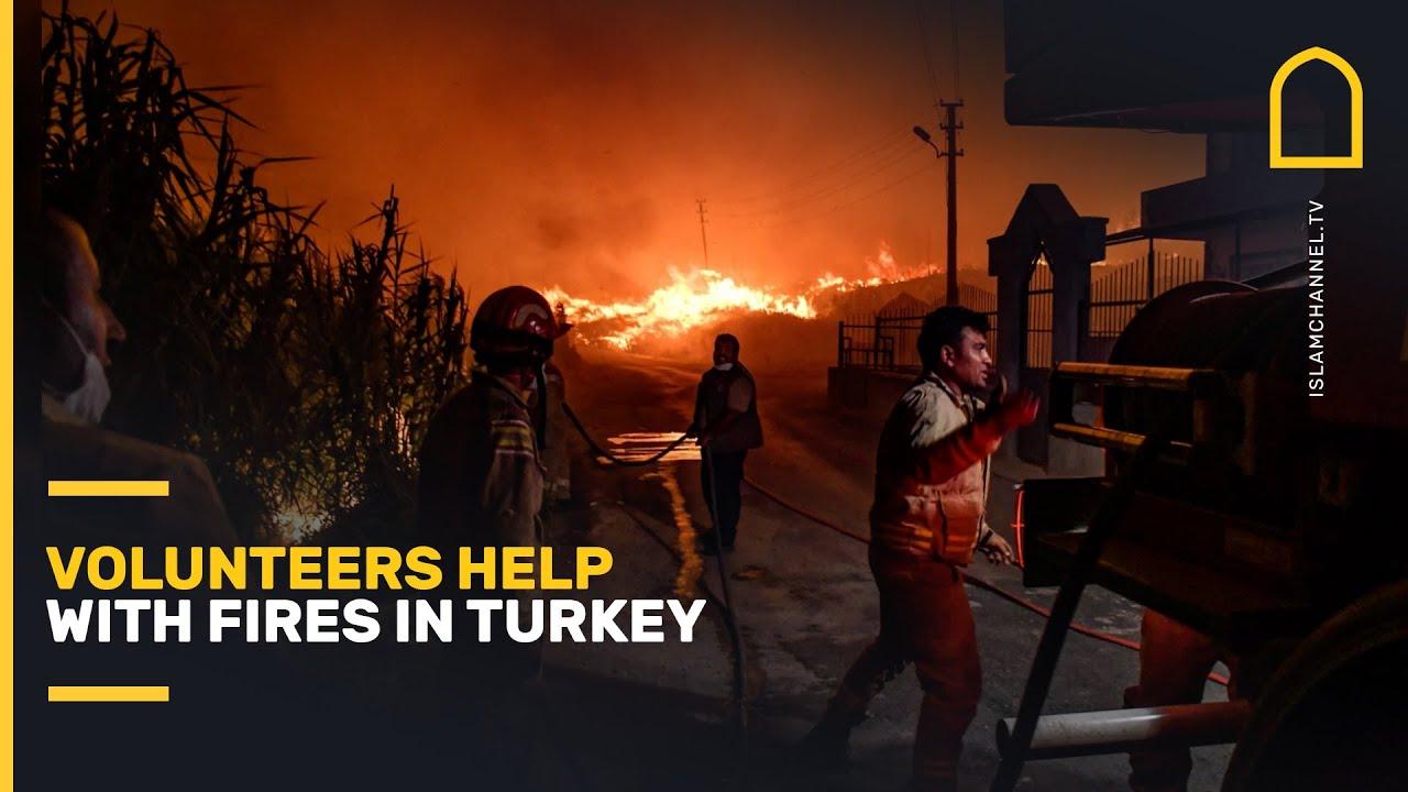 Volunteers help with fires in Turkey