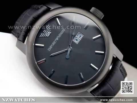 Emporio Armani Classic Black Leather Strap Men Watch AR0496. NZwatches 8d59f9308db6