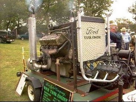 Ford Flathead V8 & 1100 cubic inch WWII Ford Tank Engine running