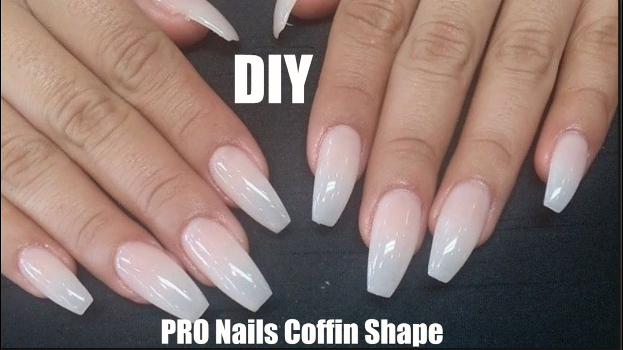 DIY Professional Coffin Nails $9 | LONG LASTING! How To Coffin Shape ...