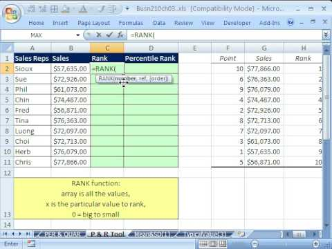 Excel Statistics 38: Data Analysis Add-In Rank & Percentile - Youtube