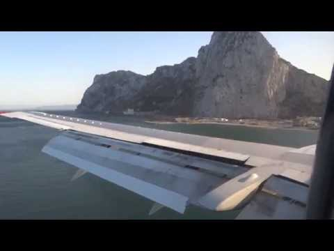 Gibraltar aiport - landing and takeoff  HD streaming vf