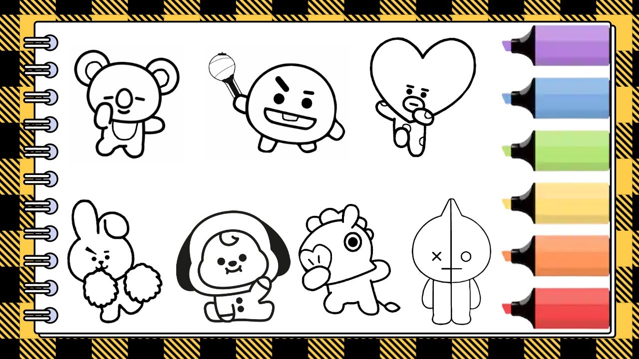 Coloring Pages Bt21 Koya Shooky Tata Cooky Mang Chimmy Van Youtube
