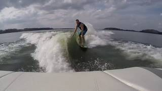 Wakesurfing behind Mastercraft x10 from Charlotte Ski Boats
