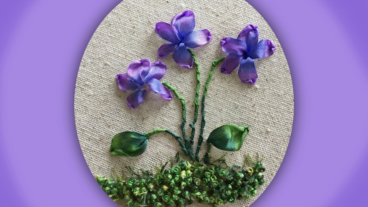 How to embroider a silk ribbon wild violet group youtube how to embroider a silk ribbon wild violet group mightylinksfo