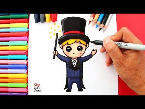 Cómo dibujar y pintar un MAGO estilo Kawaii | How to Draw a Cute Magician Cartoon