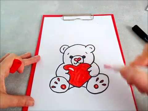 Cómo dibujar un Osito Peluche con un corazón. Un dibujo facil para ...