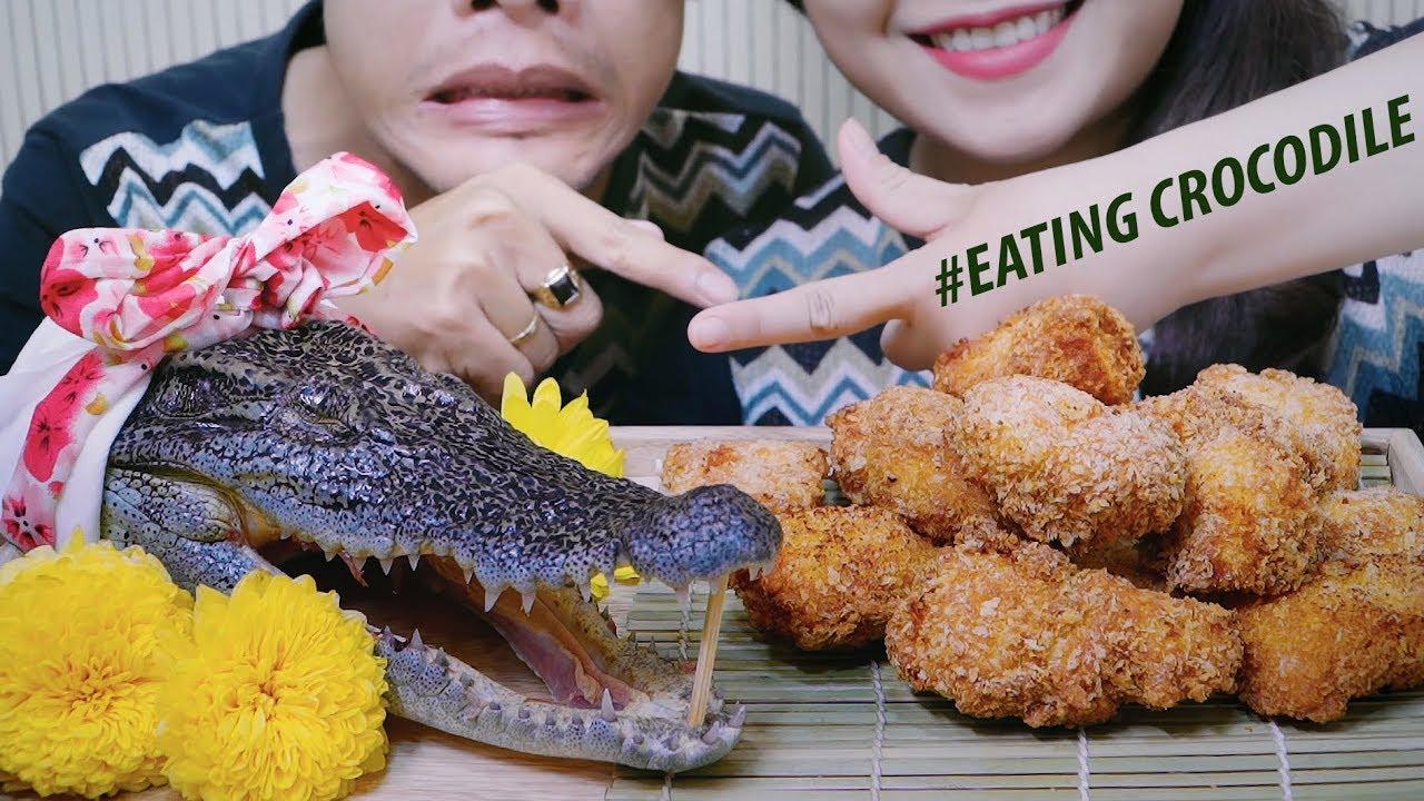 ASMR Eating Crocodile with my wife *LINH-ASMR* , exotic food , SAVAGE EATING SOUNDS | BINH ASMR