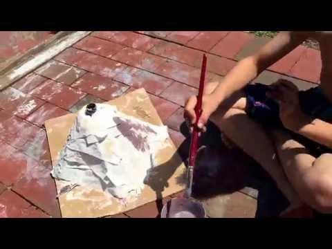 Homemade craft Paper mâché volcano