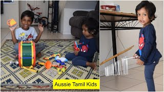 Exploring music from Kids Musical Party set and Wind Chimes + Early education! Tamil!