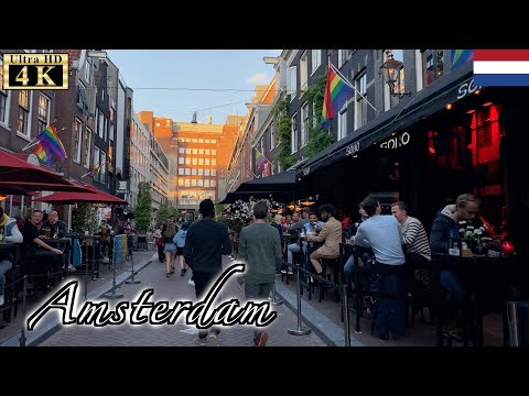 🇳🇱Amsterdam Night Walk - Reguliersdwarsstraat to Muntplein Square -【4K 60fps】