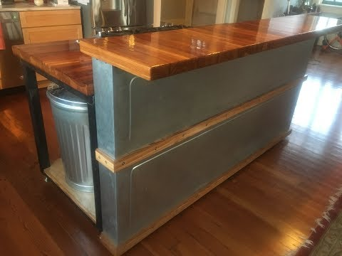 Butcher block island w/ epoxy resin counter top- Part 2