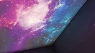 КОРОБ под КРАСИВЫЙ НатяЖной  потолок ЗВЕЗДНОЕ НЕБО с фотопечатью своими руками и подсветкой