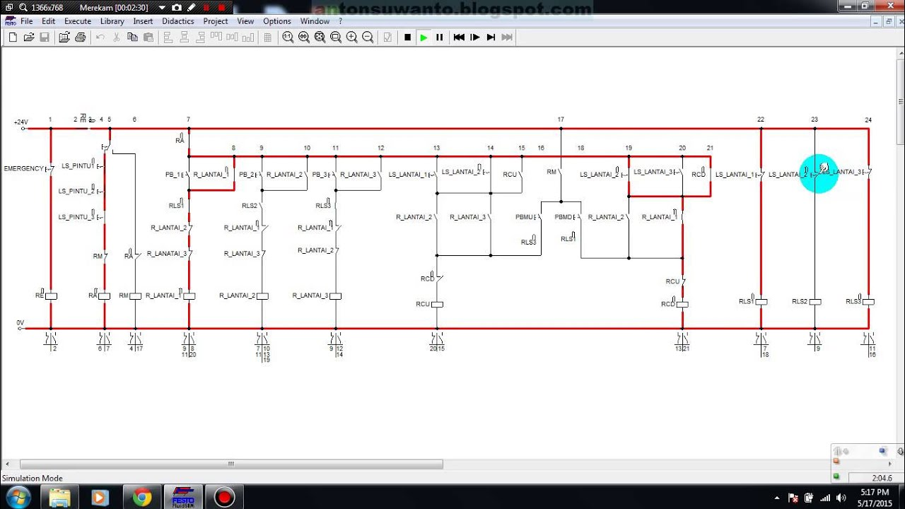 Simulasi Rangkaian Kontrol Lift Barang 3 Lantai Dengan Relay