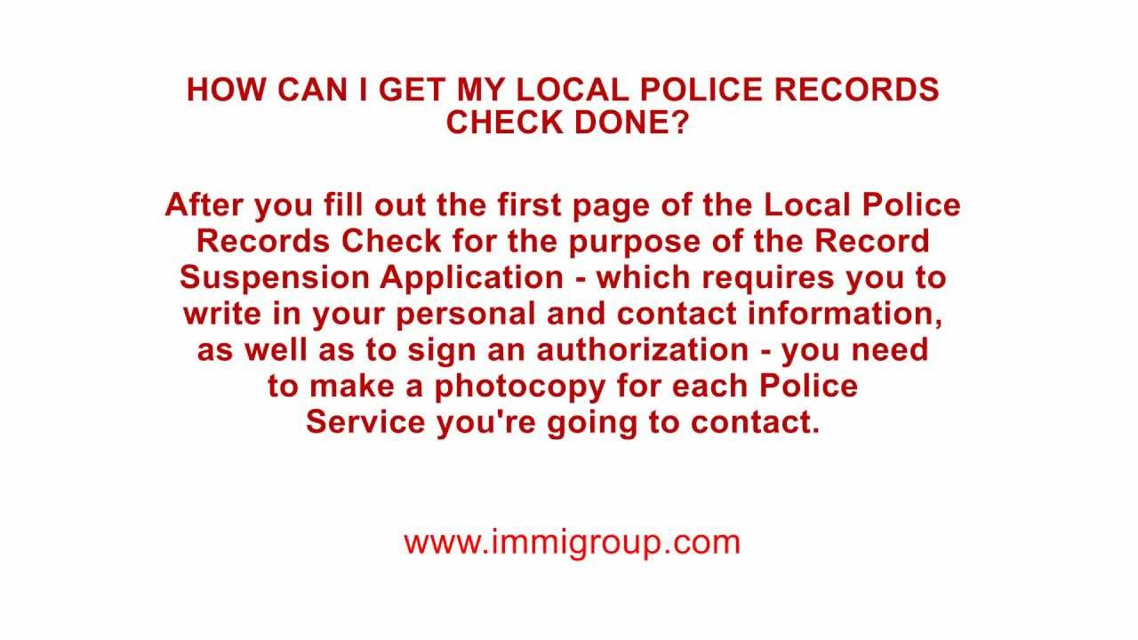 How can I get my Local Police Records Check done?