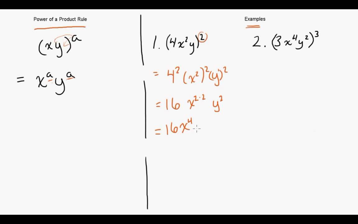 Power Of A Power : Exponents power of a product rule youtube
