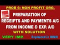 PROBLEM 6 ON ACCOUNTING FOR NOT FOR PROFIT ORGANISATION PREPARATION OF RECEIPTS AND PAYMENTS ACCOUNT