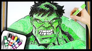 HOW TO DRAW HULK - Whiteboard Drawing - TWO HAND ARTIST