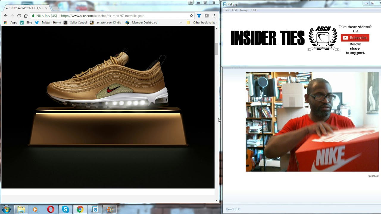 WomenMen Nike Air Max 97 QS BlackMetallic Gold Varsity Red White AT5458 002 Online
