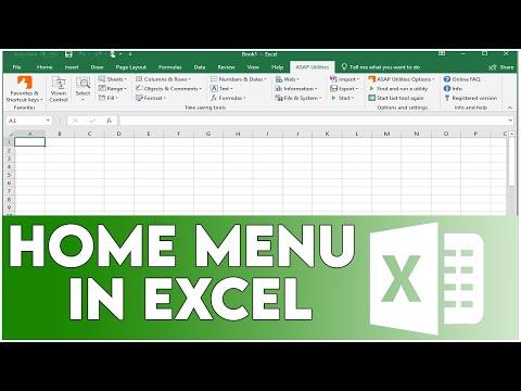 Home Menu in Excel
