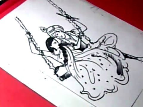 How To Draw Lord Radha Krishna Drawing For Kids Youtube