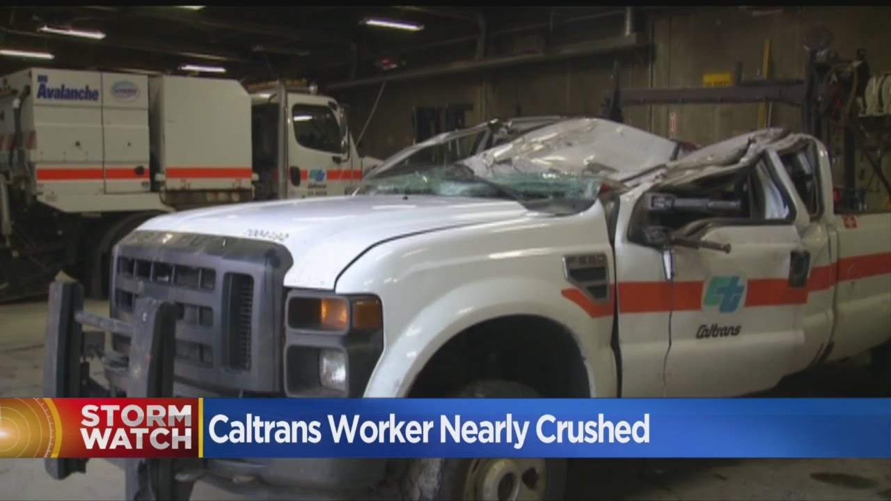 Caltrans Worker Dodges Death, Gets Out Of Crushed Truck To Direct Traffic