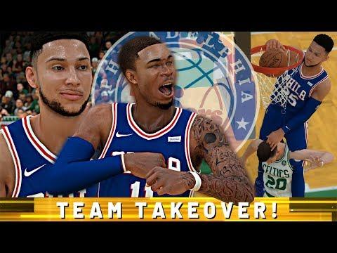 NBA 2K19 MyCAREER - Team Takeover! BEN SIMMONS INSANE CONTACT DUNKS!