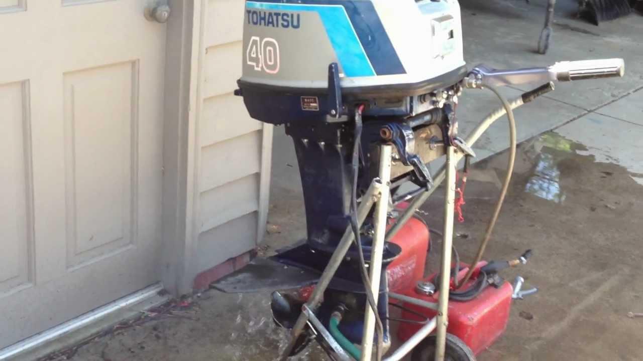 1987 Tohatsu 40 hp tiller short-shaft outboard Motor - YouTube