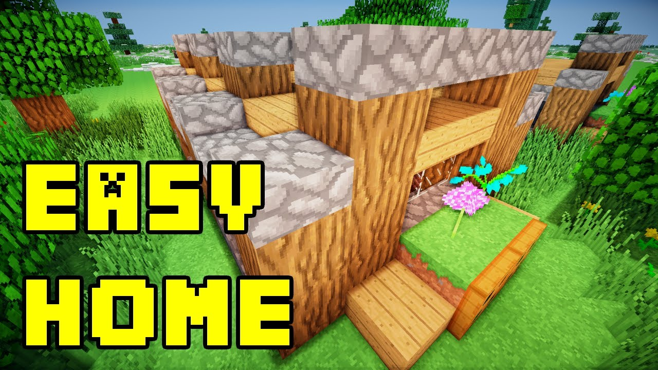 Minecraft easy simple small starter house base build for Easy homes to build