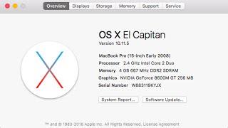 Mac OS X 10.11.5 El Capitan on a 2008 MacBook Pro