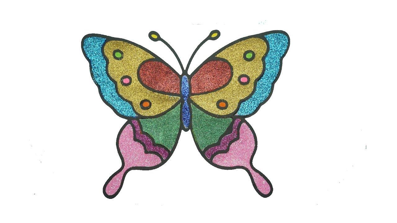 Vẽ Tranh Tô Màu Kim Tuyến : Bươm Bướm |  Painting Painting Coloring Needles: Butterfly