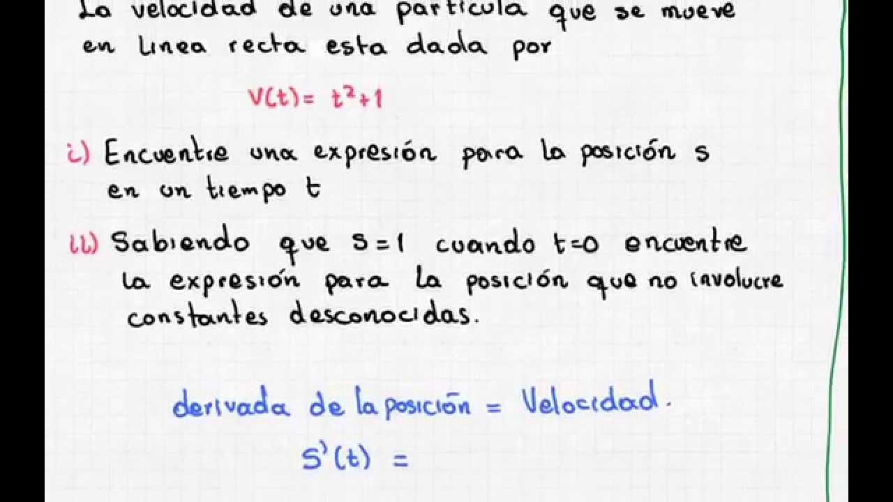 aplicaci u00f3n de la integral indefinida 4  integral de la velocidad es la posici u00f3n