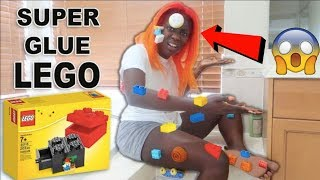 SUPERGLUE LEGO PRANK ON FIANCE' HER EYEBROWS RIPPED OFF!!