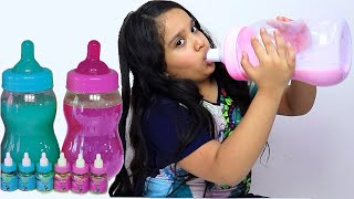 Pretends to play with her Magic milk bottle - Preschool toddler learn color تعليم الالوان بالانجليزي