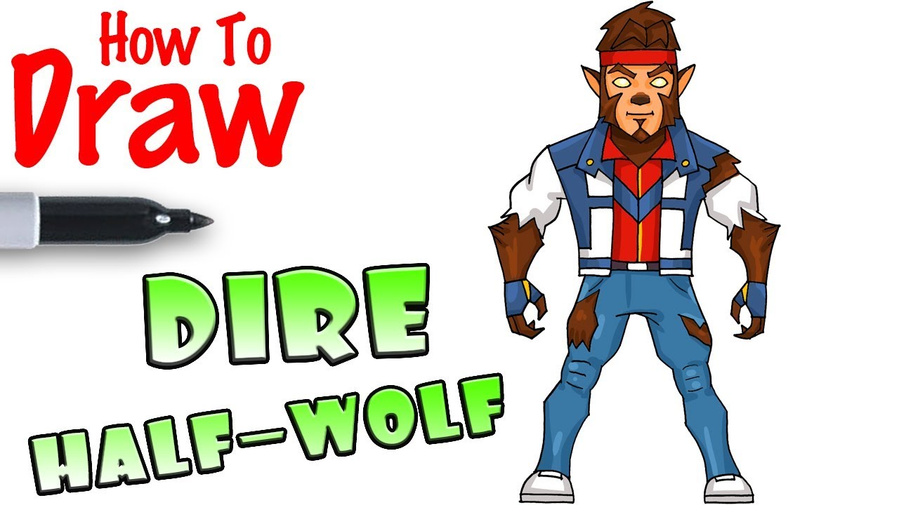 how to draw half wolf dire fortnite youtube