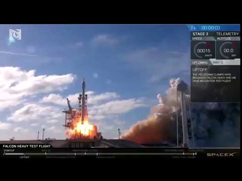 SpaceX Falcon heavy rocket blasts off from Florida in debut test flight