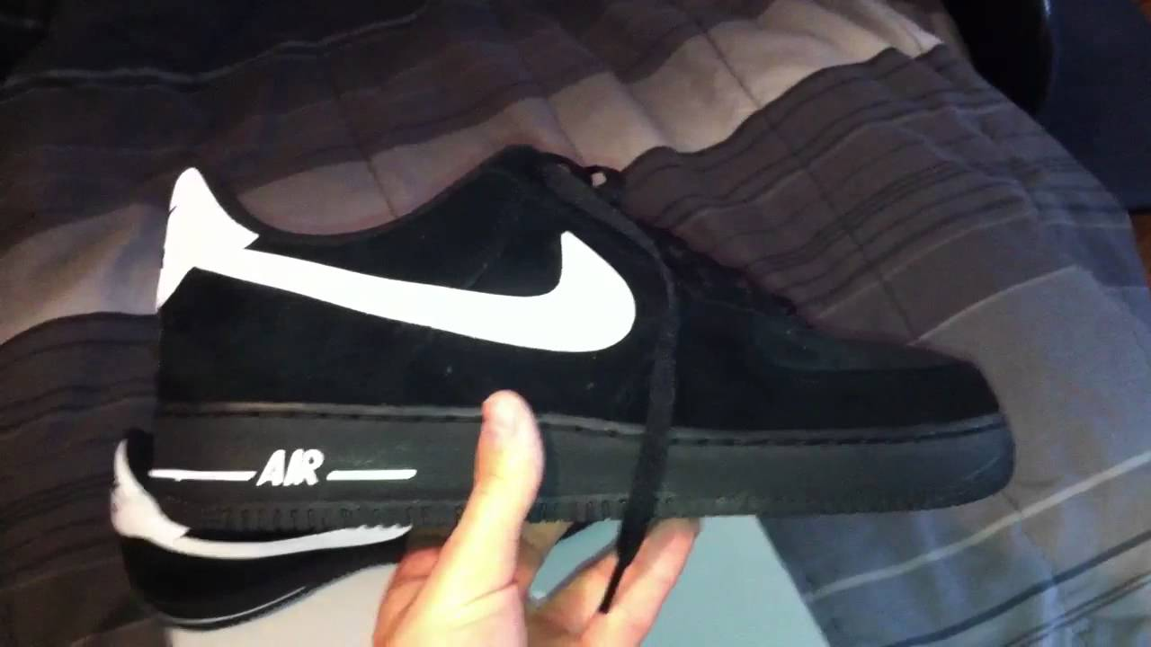 d500e10fbae5fb Air force 1 black suede - YouTube