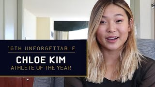 Snowboarding sensation Chloe Kim accepts her Athlete of the Year aw...
