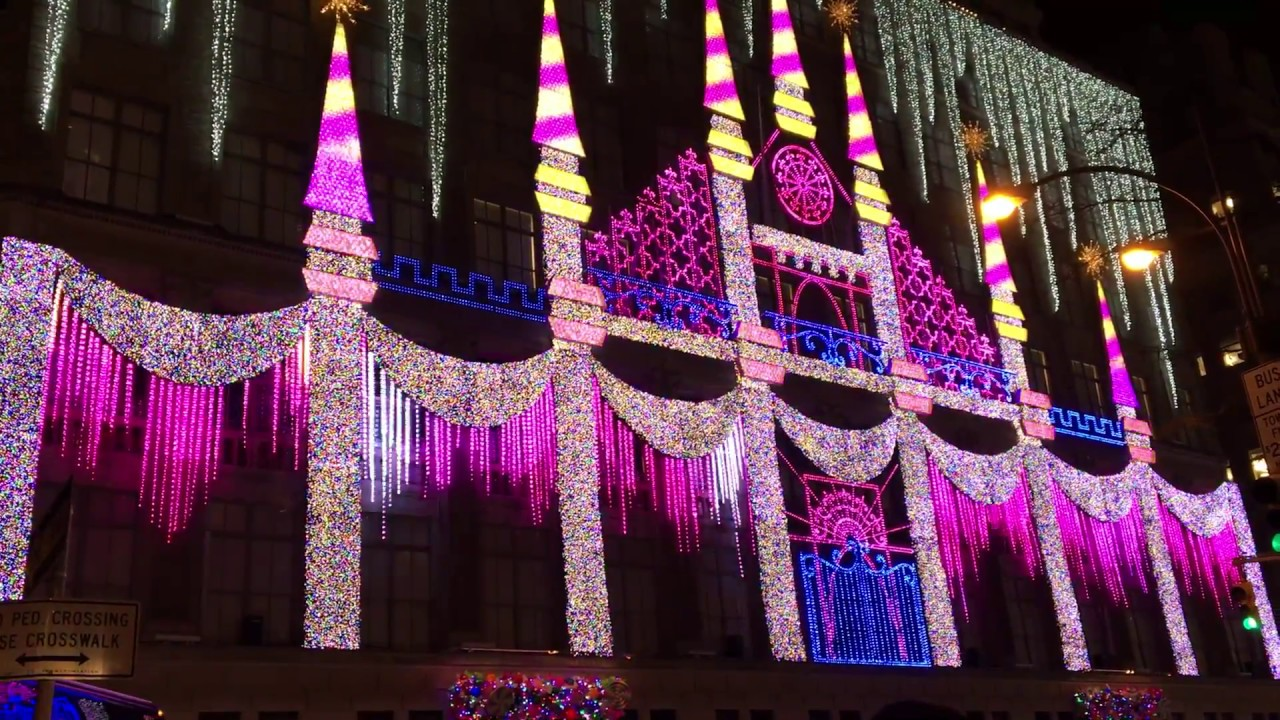Christmas Light Show @ Saks Fifth Avenue, NYC 2016 - YouTube