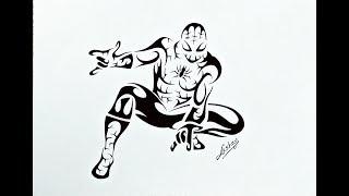 How to draw Spiderman - Tribal Tattoo Design Style - Art Maker Akshay